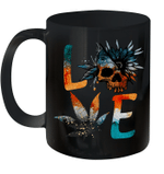 Love Weed Sunflower With Skull Love Cannabis Gift Hippie Mug