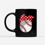 Coffee Mug Gift For Mom Ideas - Baseball Sport Mom Red Polka Dot Bandana - Black Mug