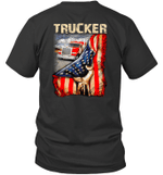 Truck Behind American Flag Trucker Love Graphic Tees Shirt