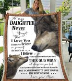 Wolf to my daughter never forget that i love you blanket, Fleece Blanket