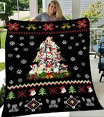 Frenchie Christmas Tree Blanket Funny Frenchie Christmas – Fleece Blanket