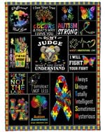 Elephant Cute Don't Judge What You Don't Understand Autism Awareness Fleece Blanket