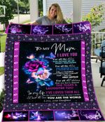 To my mom Daughter Night Butterfly Blanket You Are The World, I will Always Love You Fleece Blanket Gifts Mom