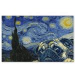 Pug Dog Starry Night Gogh Poster