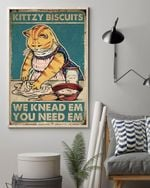 Cat Kittzy Biscuits We knead Em You Need Em Vintage Poster