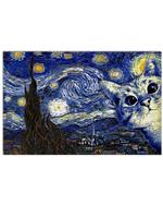 Cat Starry Night Gogh Poster