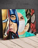 Nurse Superheroes Iron Man Captain America Poster