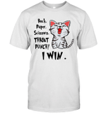 Rock Paper Scissors Throat Punch I Win Cat Funny Shirt