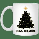 Black Cat Meowy Christmas Funny Mug