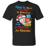 Youre Never Too Old To Believe In The Magic Of Christmas And Unicorns t-shirt