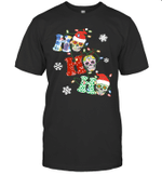Ho Ho Ho Sugar Skull Christmas Lights Funny Shirt
