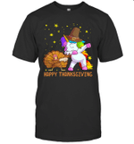 Turkey And Unicorn Dabbing Thanksgiving Shirt