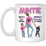 Auntie Niece's Best Friend Nephew's Best Partner In Crime Mug Auntie Coffee Mugs, Aunt Gifts
