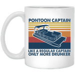 Pontoon Captain Like A Regular Captain Only More Drunker Vintage Gifts Mug Boat Vintage Coffee Mugs