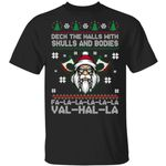 Viking Deck The Halls With Skulls And Bodies Ugly Christmas Sweater Xmas Gifts Shirt