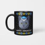 Happy Hanukcat Ugly Hanukkah Sweater Cat Chanukah Jewish Mug