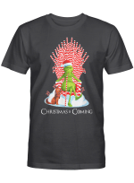 Christmas Grinch Is Coming Candy Cane Throne Funny Parody T-Shirt