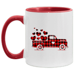 Red Plaid Buffalo Hearts Vintage Truck Cute Valentine's Day Mug