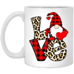 Gnomes Valentines Love Leopard Plaid Couple Matching Mug
