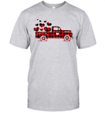 Red Plaid Buffalo Hearts Vintage Truck Cute Valentine's Day Shirt
