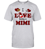 I Love Being A Mimi Gnomes Red Plaid Heart Valentine's Day Shirt