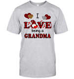 I Love Being A Grandma Gnomes Red Plaid Heart Valentine's Day Shirt