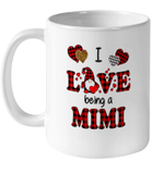 I Love Being A Mimi Gnomes Red Plaid Heart Valentine's Day Mug