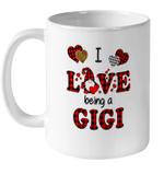 I Love Being A Gigi Gnomes Red Plaid Heart Valentine's Day Mug