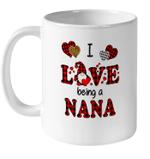 I Love Being A Nana Gnomes Red Plaid Heart Valentine's Day Mug