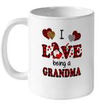 I Love Being A Grandma Gnomes Red Plaid Heart Valentine's Day Mug