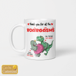 Personalized Thank You For All The Roargasms Funny Naughty Dinosaur Couple Valentine's Day Gifts Coffee Mug