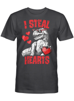 Boys Valentines Day Kids Dinosaur T rex Lover I Steal Hearts T-Shirt
