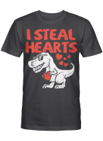 Kids I Steal Hearts Trex Dino Cute Baby Boy Valentines Day Gift T-Shirt