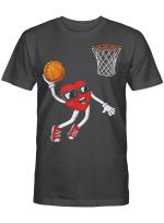 Valentines Day Heart Dunking Basketball Boys Girls Kids Gift T-Shirt