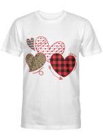 Girls Valentines Day Shirts Hearts Love Leopard Plaid Kids T-Shirt