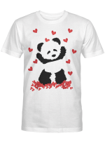 Panda with Hearts - Valentines Day Women and Girls T-Shirt