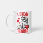 Boys Valentines Day Kids Dinosaur T rex Lover I Steal Hearts Mug