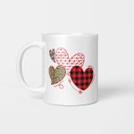 Girls Valentines Day Shirts Hearts Love Leopard Plaid Kids Mug