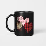 Girls Valentines Day Mug Hearts Love Leopard Plaid Kids Mug