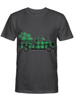 Green Buffalo Plaid Shamrock Pickup Truck St. Patrick's Day T-Shirt