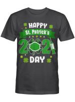 Happy Saint Patrick's Day 2021 Irish Shamrock Face Mask Gift T-Shirt