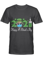Leprechaun In A Mask Happy St Patrick's Day 2021 Men Women T-Shirt