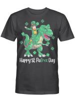 Dino St Patricks Day Shirt Kids Toddler Boys Leprechaun T-Shirt