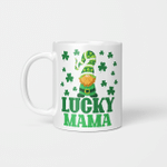 Lucky Mama Mother St Patrick's Day Clover Gnome Irish Gift Mug