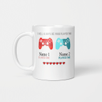 Personalized I Will Always Be Your Player Two Ceramic Coffee Mug Funny Gamer Gaming Mug, Lover Couple Friend Customized Name Ceramic Mug