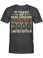 21 Years Of Being Awesome Vintage 1981 Limited Edition 21st Birthday Gifts Shirt