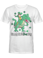 Dino St Patricks Day Shirt Kids Toddler Boys Leprechaun T-Shirt