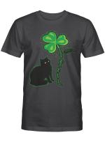 St Patricks Day Black Cat Shirt My Lucky Charm Women's Men Gifts Shirt