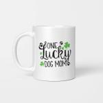 One Lucky Dog Mom Shamrock Paw Shirt St Patrick's Day Graphic Mug