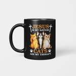 Jesus Is My Savior Cats Are My Therapy Funny Mug